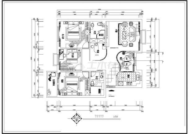 南通市某豪华住宅室内装修全套设计cad平面图(含设计图,效果图)-图一