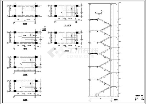 某六层医院门诊楼综合楼加固改造结构施工cad图,共三十张-图二