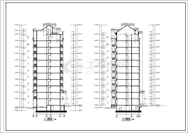 北京某小区6600平米11层框架结构住宅楼建筑设计CAD图纸(含机房层)-图一
