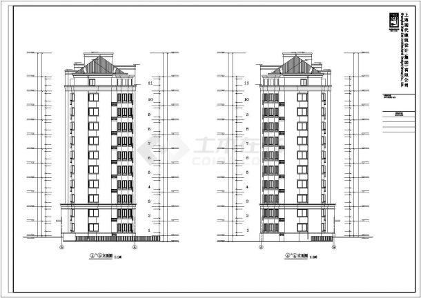 北京某小区6600平米11层框架结构住宅楼建筑设计CAD图纸(含机房层)-图二