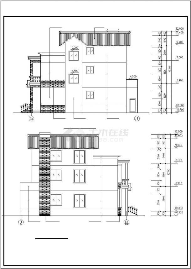 兰州市某现代村镇400平米三层砖混结构乡村民居楼建筑设计CAD图纸-图二