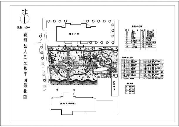 某县城人民医院绿化规划设计cad图(含总平面图)-图一
