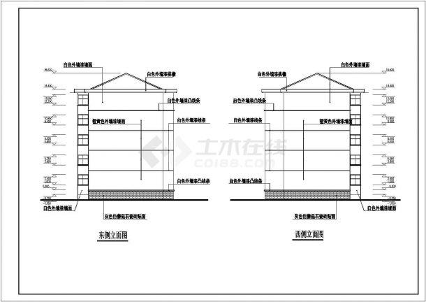 锦州某小区5层框架结构住宅楼立剖面设计CAD图纸(含阁楼和半地下室)-图一