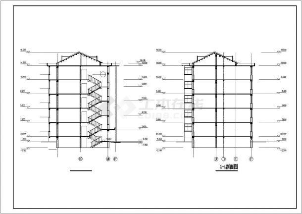 锦州某小区5层框架结构住宅楼立剖面设计CAD图纸(含阁楼和半地下室)-图二