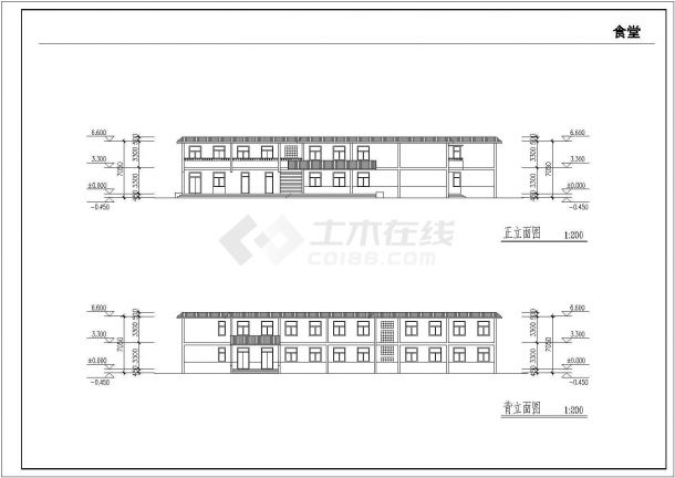 某乡镇中学校园扩建四层教学楼建筑工程设计CAD图(含平立剖、总平面图)-图二