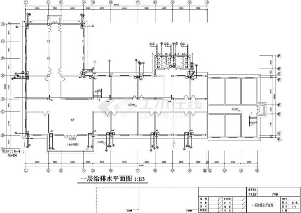 4层L型医院门诊楼给排水施工图纸【各层给排水平面 目录 材料表 图例 施工说明 卫生间给排水大样 给排水消防水箱系统】-图一
