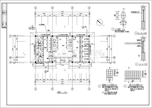 两个宽5.8和5.34米1层公厕建筑施工设计图纸(一层平面 屋顶平面 立面 剖面 节点详图)-图一
