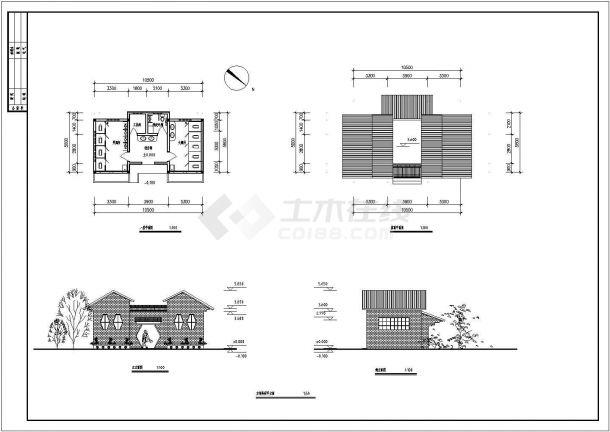 两个宽5.8和5.34米1层公厕建筑施工设计图纸(一层平面 屋顶平面 立面 剖面 节点详图)-图二