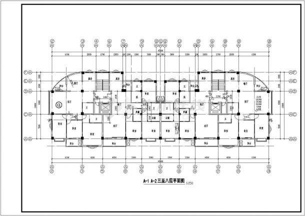 温州某住宅小区设计CAD大样设计完整建筑平面图-图二