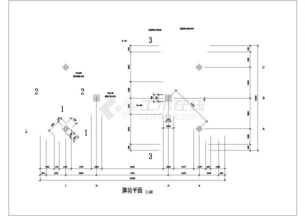 某古建牌坊建筑设计全套CAD图纸-图二