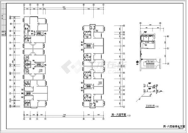 长51.2米 宽49.989米 6+1阁楼层(1梯2户5单元)11型住宅楼建筑设计施工图-图二