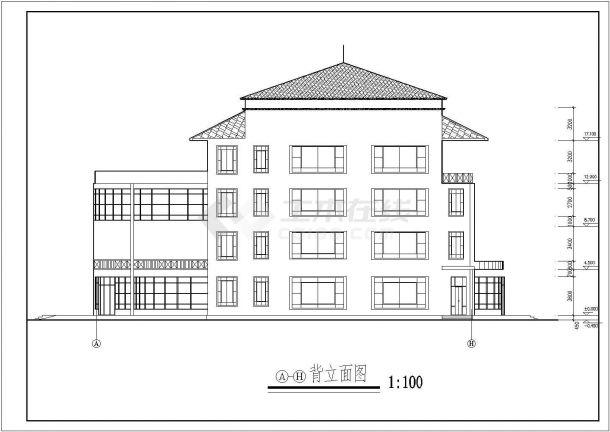 【南京】某地4层餐饮娱乐城全套建筑施工cad图【平立剖 楼梯平面】-图二