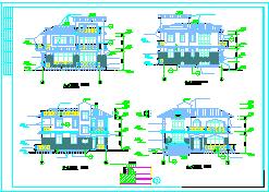 某渡假村落别墅cad全套建筑设计施工图纸-图二
