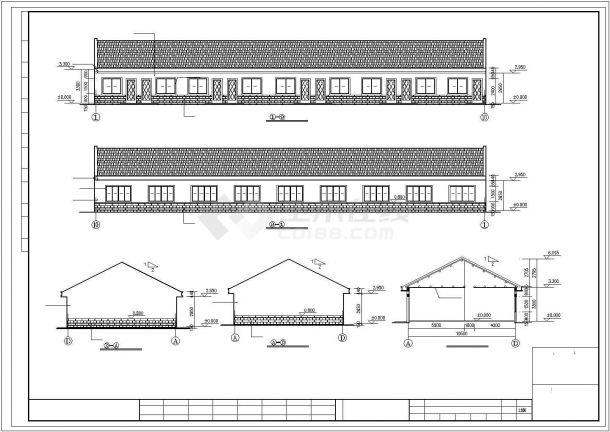 青岛市某工厂410平米单层砖混结构职工宿舍楼建筑设计CAD图纸-图一
