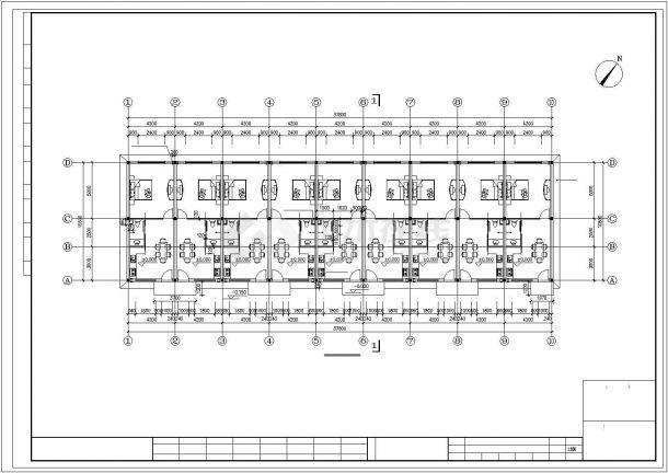 青岛市某工厂410平米单层砖混结构职工宿舍楼建筑设计CAD图纸-图二