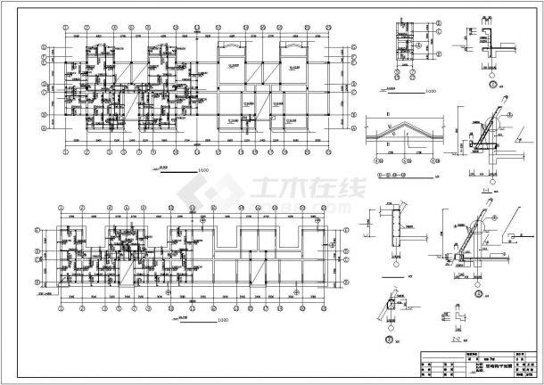 扬州某居住区2930平米7层砖混结构住宅楼建筑设计CAD图纸(含结构图)-图二