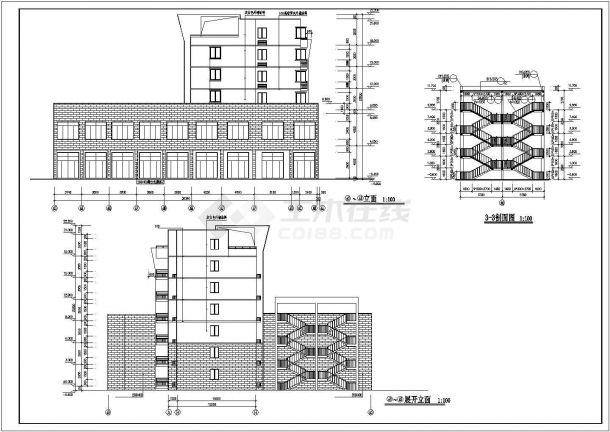 深圳市罗湖区某家属院3980平米6+跃层砖混结构住宅楼建筑设计CAD图纸-图一
