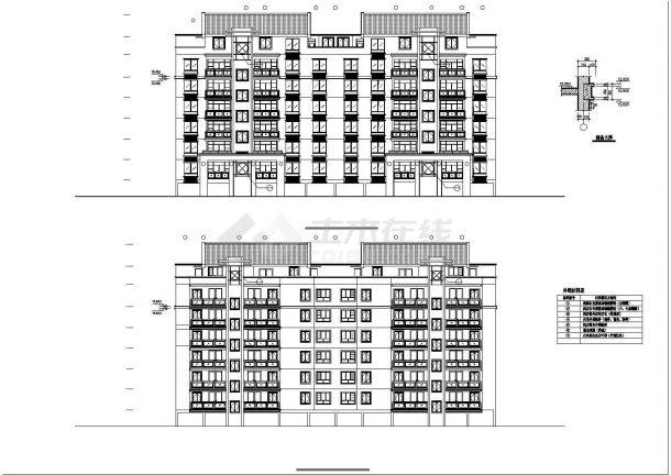 宿州市某居住区6层砖混结构住宅楼建筑设计CAD图纸(第6层为复式)-图二