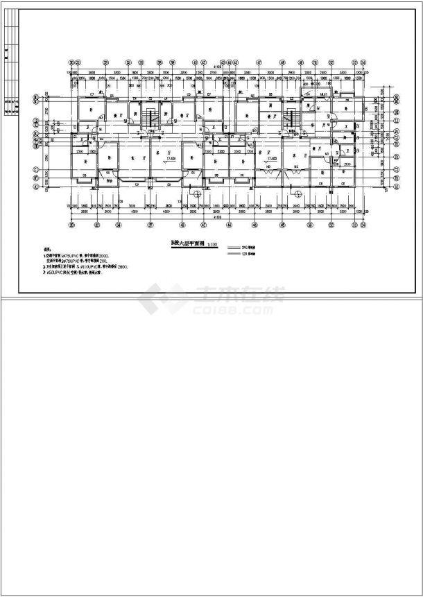 江苏省邳州市某某农贸市场上部商住楼全套CAD平面图纸-图一