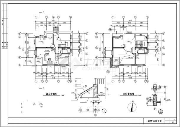 台州市某现代化村镇3层砖混结构住宅楼建筑设计CAD图纸-图二