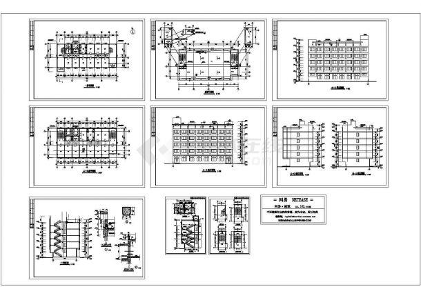 某校新建宿舍楼平面立面剖面设计方案cad图纸-图一