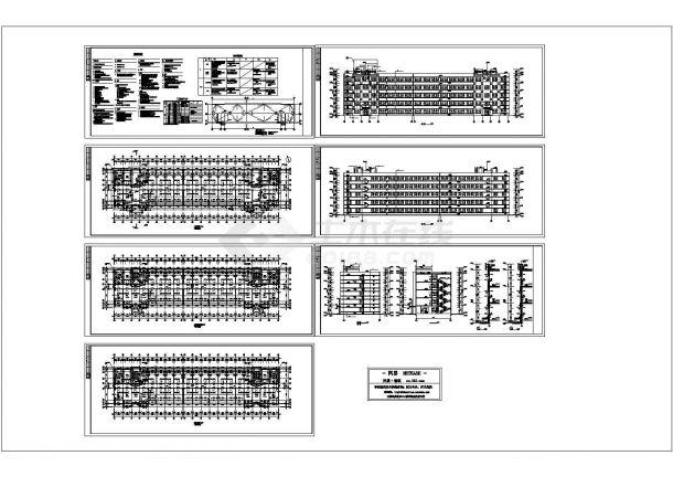 某工厂职工宿舍楼全套建筑立面施工cad图纸-图一