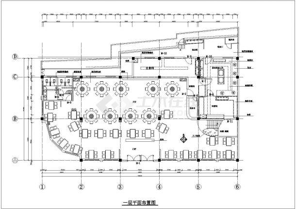 新疆吐鲁番某餐厅装修设计cad全套施工图(含效果图)-图一