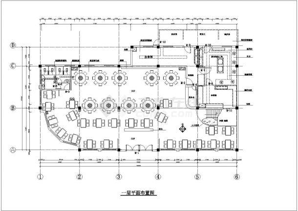 新疆吐鲁番某餐厅装修设计cad全套施工图(含效果图)-图二