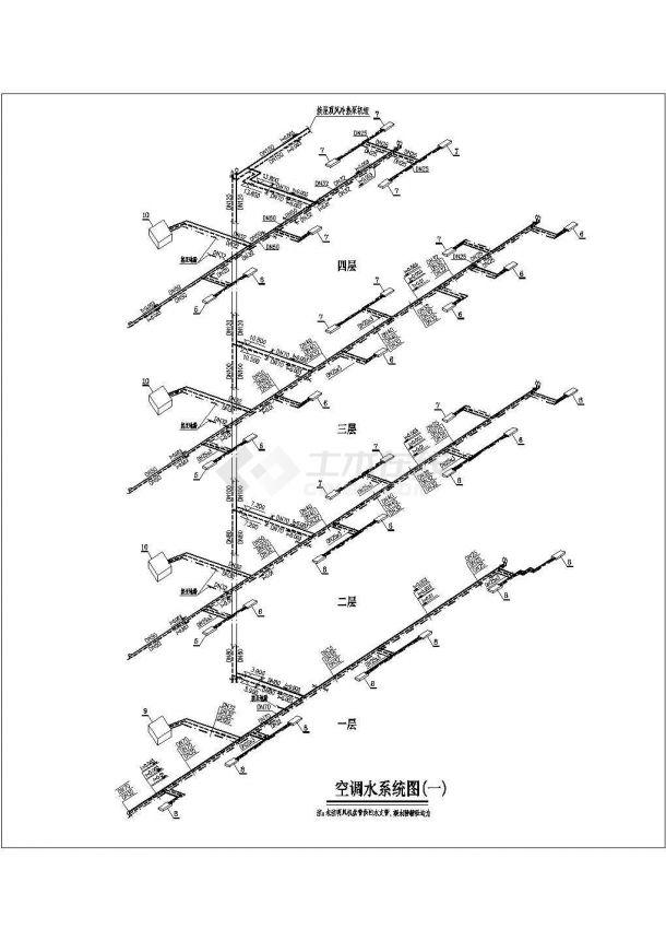 某商业综合楼空调通风及防排烟系统(风冷热泵机组)设计 cad全套施工图(含设计说明)-图二