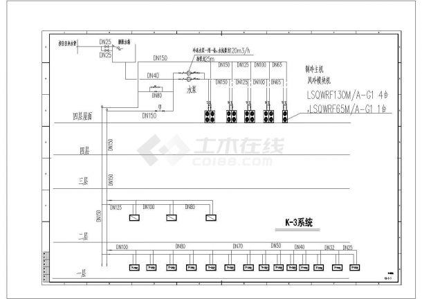 某多层商业综合楼空调通风系统(风冷模块机组)设计cad 全套施工图(含设计说明)-图一