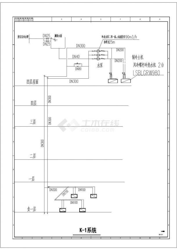 某多层商业综合楼空调通风系统(风冷模块机组)设计cad 全套施工图(含设计说明)-图二