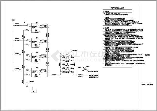 某综合商场冷热源机房系统设计cad全套施工图(含锅炉房设计说明)-图一
