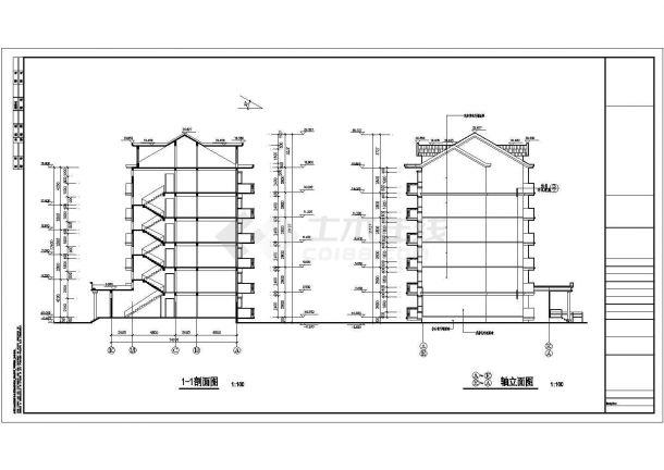 某地区渔港花园小区六层带阁楼住宅楼建筑工程设计CAD图(含节点详图,平立剖)-图一