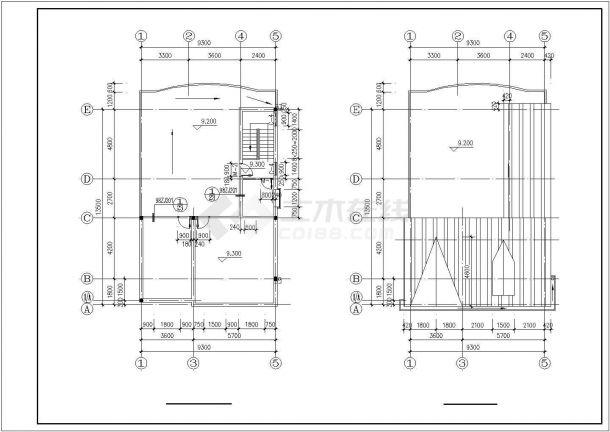 杭州市汇金城居住区三层砖混结构住宅楼建筑设计CAD图纸(含阁楼)-图二