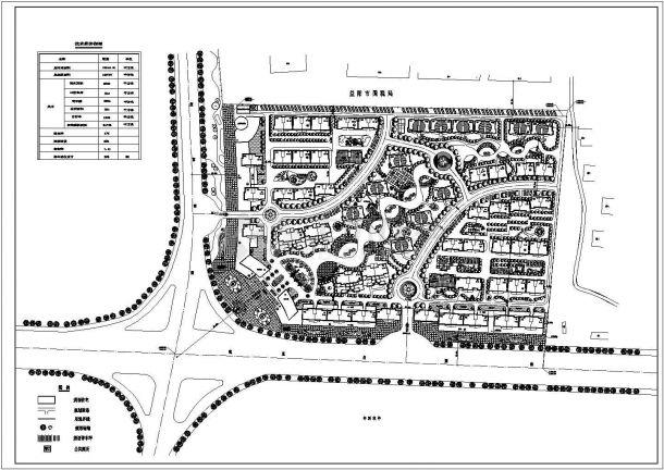 某现代高档居民小区景观规划设计cad总平面施工图(含技术经济指标)-图一