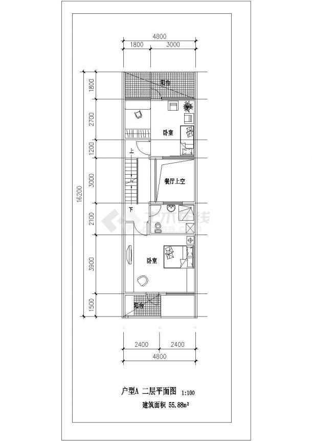 保定市某村镇163平米三层砖混结构乡村民居住宅楼平立面设计CAD图纸-图二