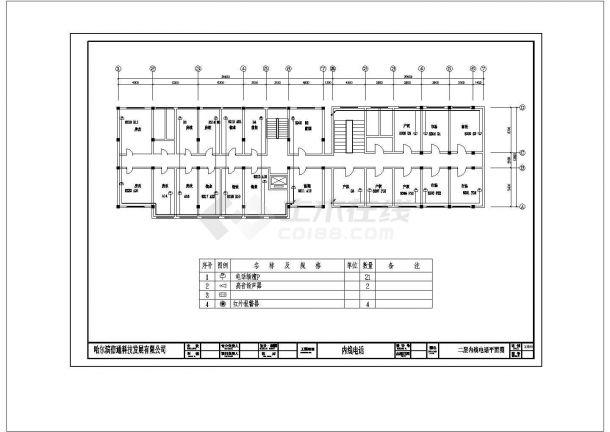 办公楼电话内线建筑设计施工图-图一