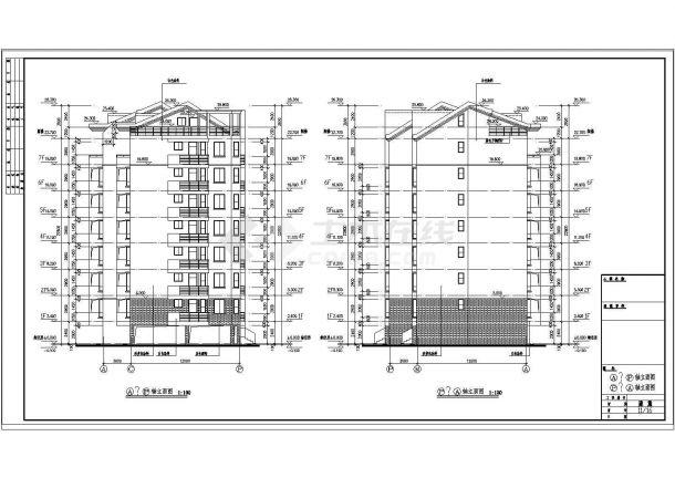 某小区7+1层钢筋混凝土框架结构对称户型住宅楼建筑方案设计全套cad图(含做法说明)-图一