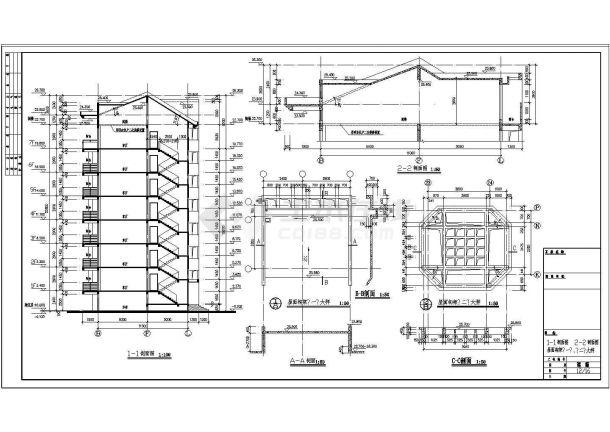 某小区7+1层钢筋混凝土框架结构对称户型住宅楼建筑方案设计全套cad图(含做法说明)-图二