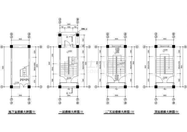 甘肃地区某小区地上六层地下一层单元式住宅楼建筑工程设计全套cad图(含建筑设计说明及大样)-图一