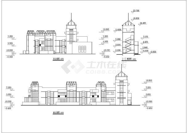 幼儿园设计_某地区扇形两层幼儿园设计CAD图-图一