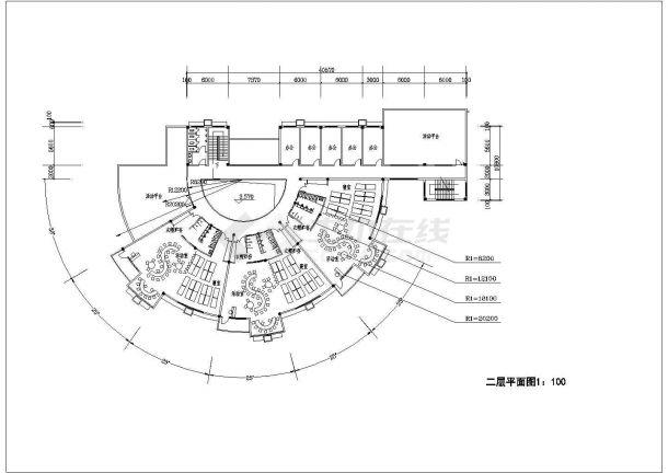 幼儿园设计_某地区扇形两层幼儿园设计CAD图-图二
