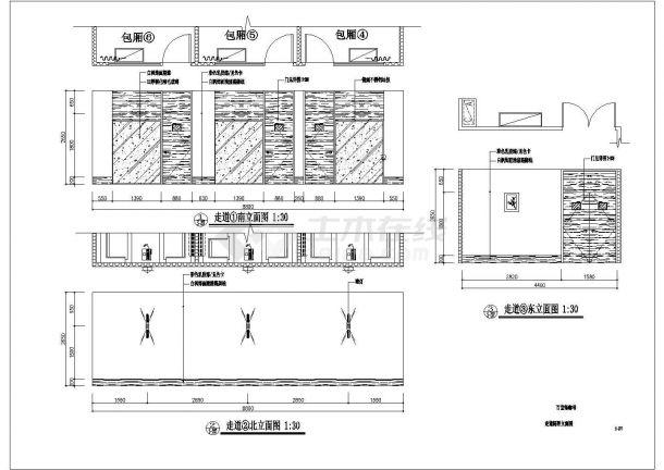 经典标准型咖啡厅装修设计CAD详细施工图纸-图一