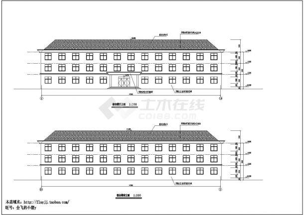 某县城试验小学三层学生宿舍楼建筑方案设计cad图(含平立剖)-图一