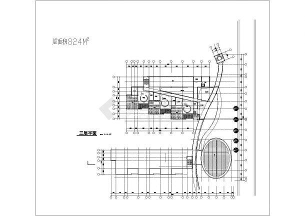 幼儿园设计_某地三层建筑面积近五千平幼儿园建筑设计CAD图-图一