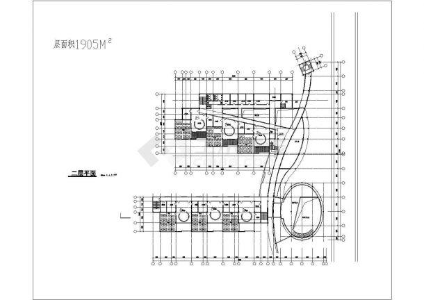 幼儿园设计_某地三层建筑面积近五千平幼儿园建筑设计CAD图-图二