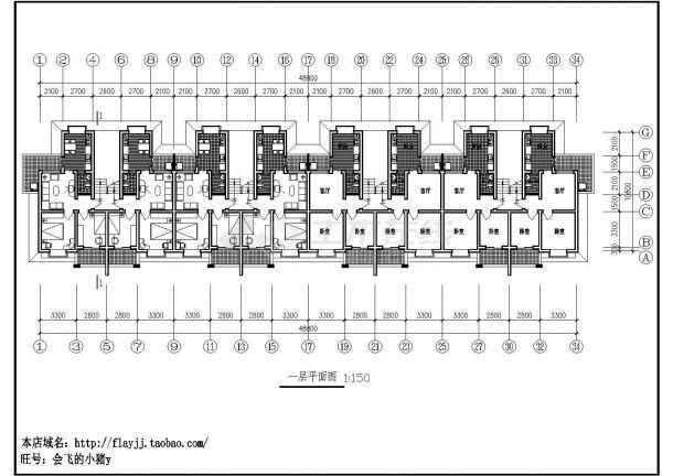 某城市理工大学四单元六层研究生宿舍楼建筑工程设计cad图(含平立剖)-图二