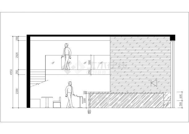 某二层西餐厅室内装修设计cad方案图-图二