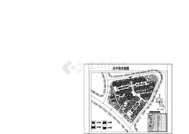 某大型高档住宅区规划设计cad总平面施工图(含技术经济指标)-图一