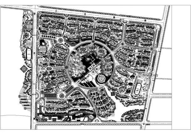 某大型多层住宅楼小区景观规划设计cad总平面施工图-图一